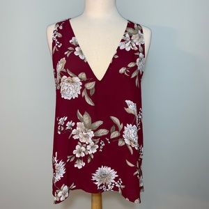 Flowy Burgundy sleeveless v neck top